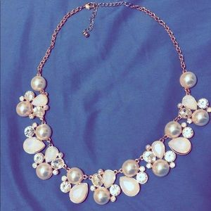Pearl & silver statement necklace with gold chain